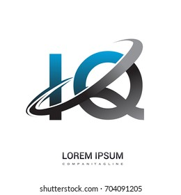 initial letter IQ logotype company name colored blue and grey swoosh design. logo design for business and company identity.