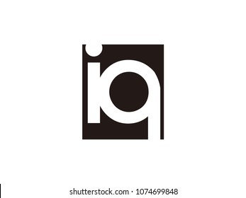 Initial letter iq lowercase logo black and white