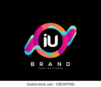Initial letter IU logo with colorful circle background, letter combination logo design for creative industry, web, business and company. - Vector