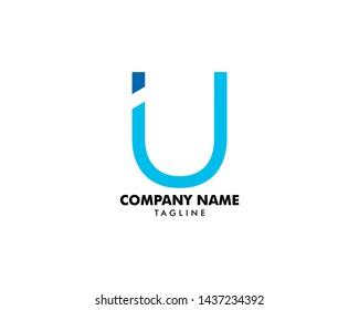 Initial Letter IU Logo Template Design