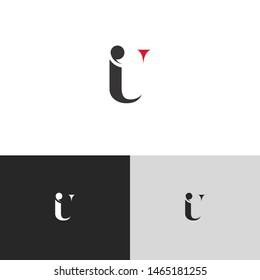 Initial Letter iu i u  uppercase modern logo design template elements. red letter Isolated on black white grey background. Suitable for business, consulting group company.