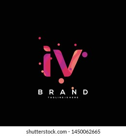 Initial letter IV logo with colorful background, letter combination logo design for creative industry, web, business and company. - Vector
