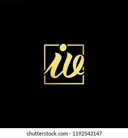Initial letter IV VI minimalist art monogram shape logo, gold color on black background
