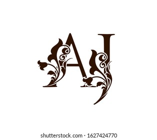 Initial letter A and J, AJ brown vintage decorative ornament emblem badge, overlapping monogram logo, classy letter logo icon.