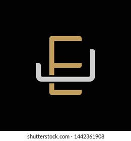 Initial letter J and E, JE, EJ, overlapping interlock logo, monogram line art style, silver gold on black background
