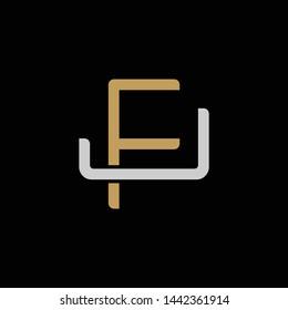 Initial letter J and F, JF, FJ, overlapping interlock logo, monogram line art style, silver gold on black background