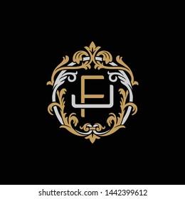 Initial letter J and F, JF, FJ, decorative ornament emblem badge, overlapping monogram logo, elegant luxury silver gold color on black background