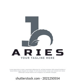 Initial Letter J with Goat Ram Sheep Horn for Aries Logo Design Inspiration. Animal Logo Element Template