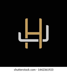 Initial letter J and H, JH, HJ, overlapping interlock logo, monogram line art style, silver gold on black background