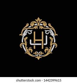 Initial letter J and H, JH, HJ, decorative ornament emblem badge, overlapping monogram logo, elegant luxury silver gold color on black background