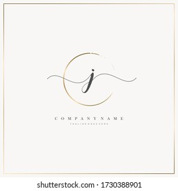 Initial Letter J handwriting logo hand drawn template vector, logo for beauty, cosmetics, wedding, fashion and business, and other