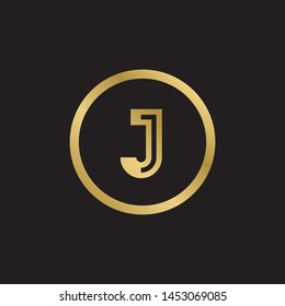 Initial letter j inside circle lowercase logo design template elements. Gold letter Isolated on black  background. Suitable for business, consulting group company.