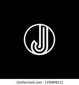 Initial letter J JJ JJJ OJ JO minimalist art monogram shape logo, white color on black background.