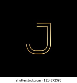 Initial letter J JJ minimalist art logo, gold color on black background