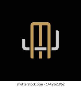 Initial letter J and M, JM, MJ, overlapping interlock logo, monogram line art style, silver gold on black background