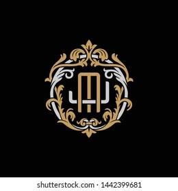 Initial letter J and M, JM, MJ, decorative ornament emblem badge, overlapping monogram logo, elegant luxury silver gold color on black background