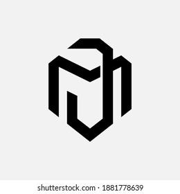 Initial letter J, M, JM or MJ overlapping, interlock, monogram logo, black color on white background