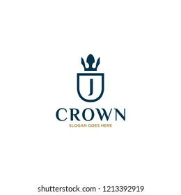 Initial Letter J Vintage Logo Design with Crown, Shield and Feather Icon Illustration