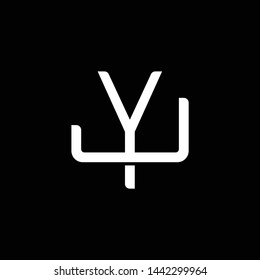Initial letter J and Y, JY, YJ, overlapping interlock monogram logo, white color on black background