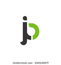 Initial Letter JB Linked Circle Lowercase Logo Black Green Icon Design Template Element