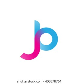 initial letter jb linked round lowercase logo pink blue