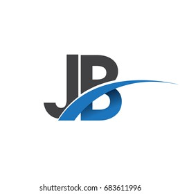 initial letter JB logotype company name colored blue and grey swoosh design. vector logo for business and company identity.
