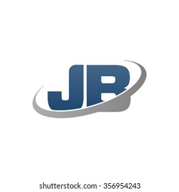 initial letter JB swoosh ring company logo blue gray