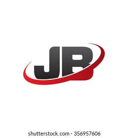 initial letter JB swoosh ring company logo red black
