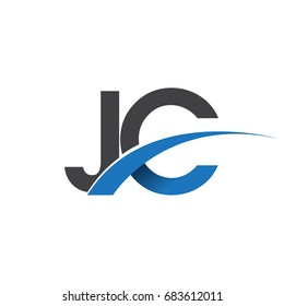 initial letter JC logotype company name colored blue and grey swoosh design. vector logo for business and company identity.
