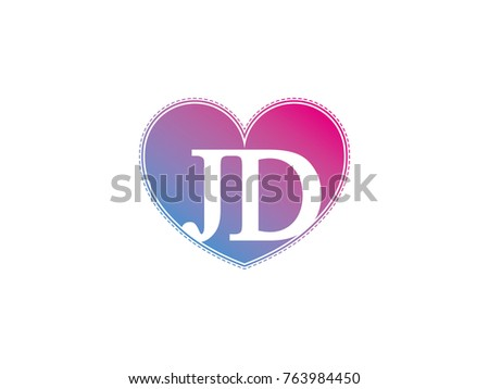 Initial Letter Jd Heart Symbol Logo Stock Vector Royalty Free