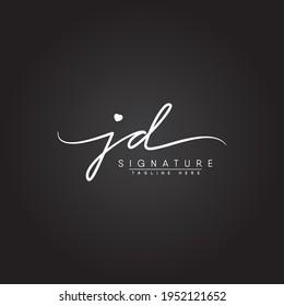 Initial Letter JD Logo - Handwritten Signature Logo