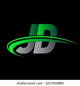 initial letter JD logotype company name colored green and black swoosh design. vector logo for business and company identity.