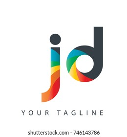 Initial Letter JD Rounded Design Logo