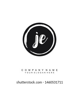 Initial letter JE beautiful handwriting logo vector template
