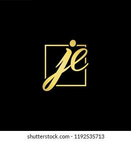Initial letter JE EJ minimalist art monogram shape logo, gold color on black background