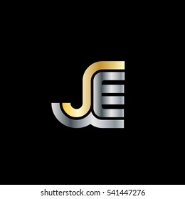 Initial Letter JE Linked Design Logo Gold Silver