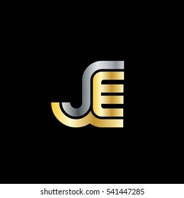 Initial Letter JE Linked Design Logo Silver Gold