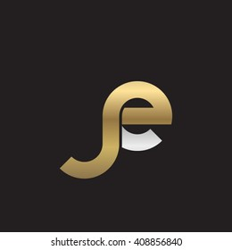 initial letter je linked round lowercase logo gold silver black background
