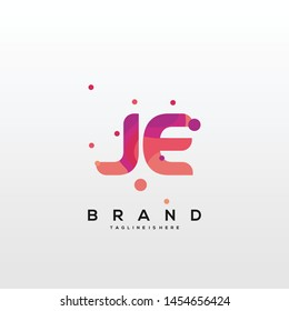 Initial letter JE logo with colorful background, letter combination logo design for creative industry, web, business and company. - Vector