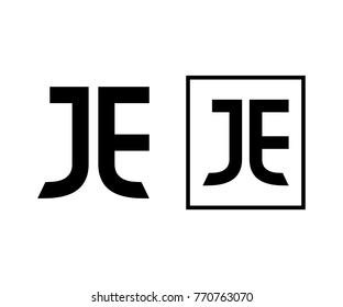 Initial Letter JE Monogram Square Modern Logo Symbol