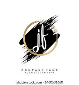 Initial letter JF beautiful handwriting logo vector template