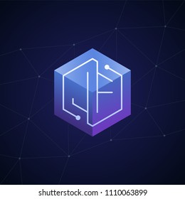 Initial letter JF, block chain, looping mono line circuit letter on hexagon cube logo, blue magenta gradient color on black blue network background