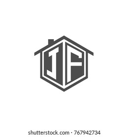 Initial letter JF House Logo Design for Property Company