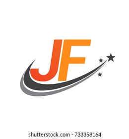 initial letter JF logotype company name colored orange and grey swoosh star design. vector logo for business and company identity.
