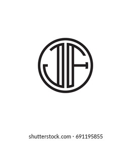 Initial letter JF, minimalist line art monogram circle logo, black color