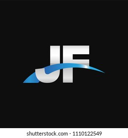 Initial letter JF, overlapping movement swoosh logo, metal silver blue color on black background