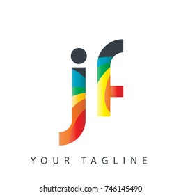 Initial Letter JF Rounded Design Logo