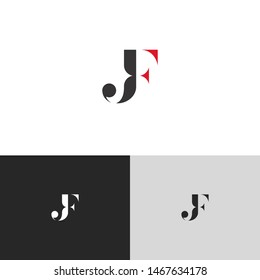 Initial Letter jf uppercase modern logo design template elements. red letter Isolated on black white grey background. Suitable for business, consulting group company.