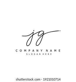 Initial letter JG calligraphy handwritten logo. Handwritten alphabet in the logo template. Letters and Alphabet for your logo design.
