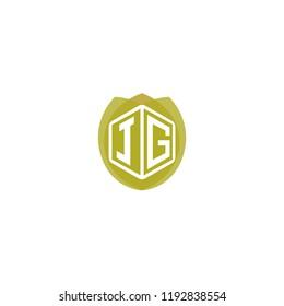 Initial Letter JG, J, G Hexagonal Shape Logo Design with Leaf, Eco, Nature, Organic Illustration for Company Identity